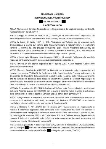 Delibera 46/13/CRL - Corecom