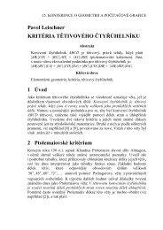 Pavel Leischner KRITÉRIA TĚTIVOVÉHO ČTYŘÚHELNÍKU 1 Úvod ...