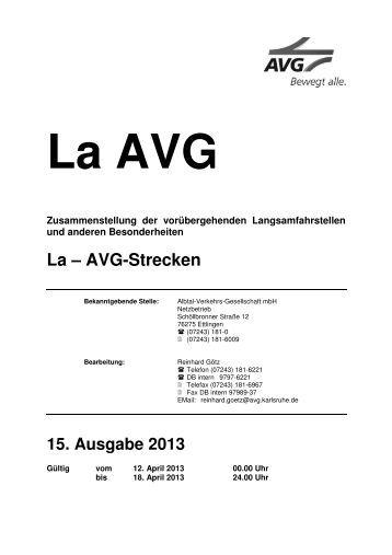 La – AVG-Strecken - Albtal Verkehrs Gesellschaft mbH