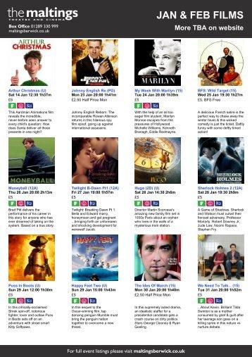 JAN & FEB FILMS - The Maltings