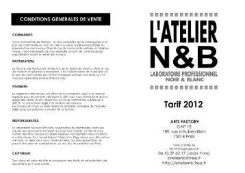 CONDITIONS GENERALES DE VENTE - Atelier noir et blanc - Free