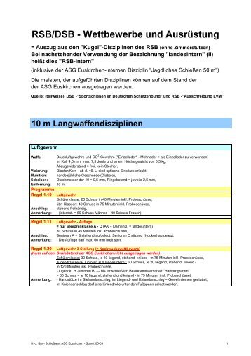 RSB/DSB - Wettbewerbe und Ausrüstung