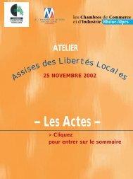 Atelier préparatoire du 25 NOVEMBRE 2002 - Les Chambres de ...