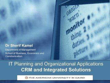 IT Planning and Organizational Applications CRM and Integrated ...