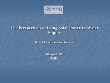 The Perspectives of Using Solar Power In Water Supply