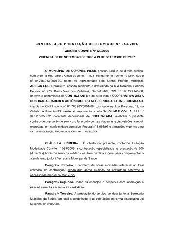 contrato de prestação de serviços n° 054/2006 ... - Portal Público