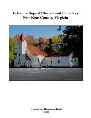 Lebanon Baptist Church and Cemetery New Kent ... - YouSeeMore