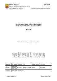 Směrnice QS - 74 - 01 Zadávání veřejných zakázek - Město Hranice
