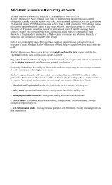 Abraham Maslow's Hierarchy of Needs - Adamranson.plus.com
