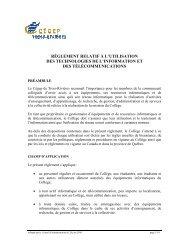 Règlement relatif à l'utilisation des technologies de l'information