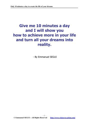 Only 10 minutes a day to create the life of your dreams - Trans4mind