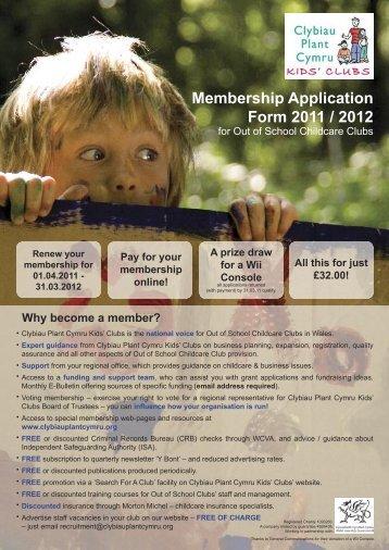Membership Application Form 2011-12 eng.indd - Clybiau Plant ...