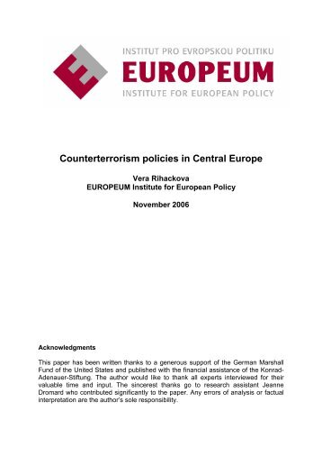 Counterterrorism policies in Central Europe - EUROPEUM - Institut ...