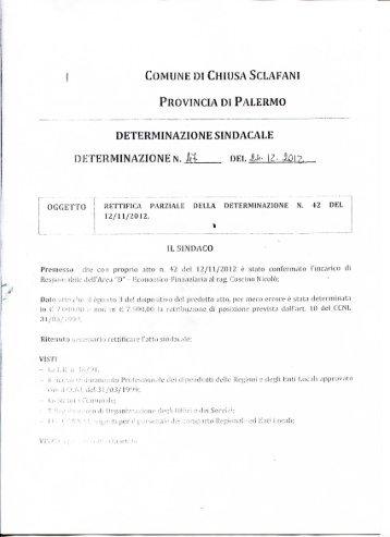 Rettifica parziale della determinazione sindacale n. 42 del 12/11/2012