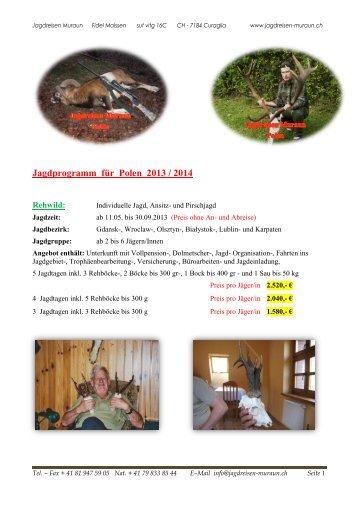 Jagdprogramm für Polen 2013 / 2014 - Jagdreisen Muraun