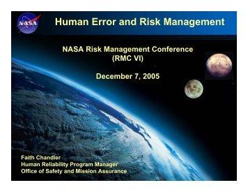 Human Error and Risk Management - NASA Risk Management ...