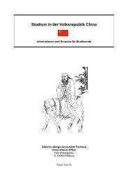 Studium in der Volksrepublik China - Albert-Ludwigs-Universität ...