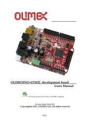 Olimexino-stm32 development board users manual