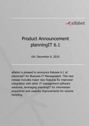 Product Announcement planningIT 6.1 - Alfabet