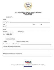 2012 Spring National Coaches Academy Application April 28 - May ...