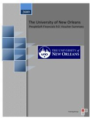 voucher summary - PeopleSoft @ UNO - University of New Orleans