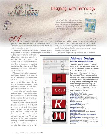 Akimbo, Designing With Technology - Graphic Exchange magazine