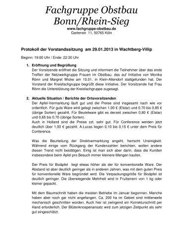 Protokoll der Vorstandssitzung am 29 01 - Fachgruppe-obstbau.de