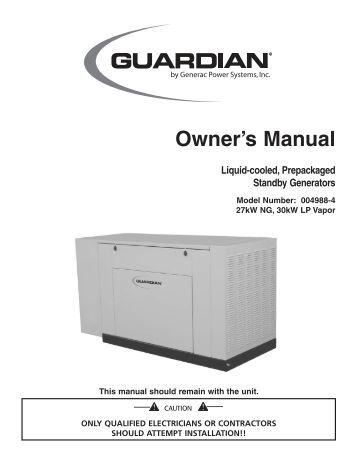 Generac generator Parts manual