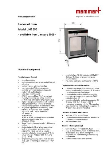 Universal oven Model UNE 550 - available from January 2009 -