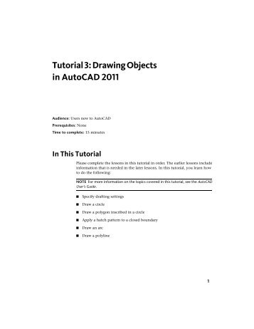 Tutorial 3: Drawing Objects in AutoCAD 2011