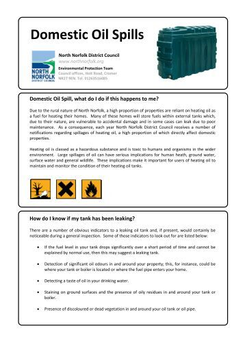 Guidance Advice for Domestic Oil Spills - North Norfolk District Council