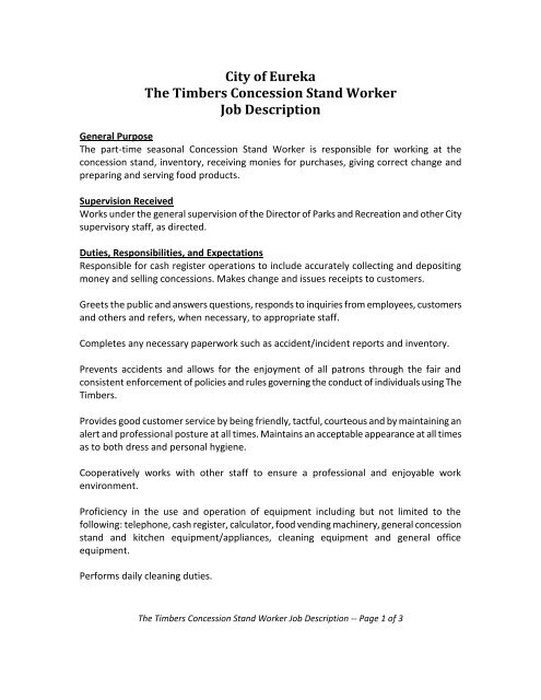 City of Eureka The Timbers Concession Stand Worker Job