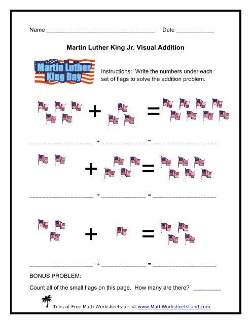 martin luther king jr visual addition  math worksheets land