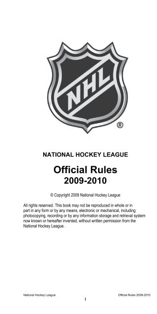 Official Rules Nhl Com