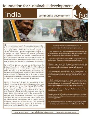 India - community development - Foundation for Sustainable ...