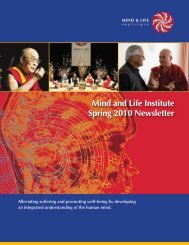 Mind and Life Institute Spring 2010 Newsletter - Mind & Life Institute