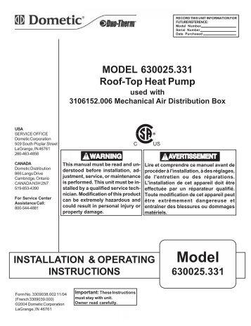 Brisk air Owners Manual