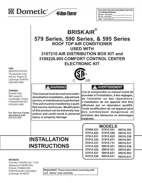 579 590 And 595 Series Air Conditioner Installation Instructions For
