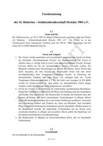 Vereinssatzung der St. Hubertus – Schützenbruderschaft Dreislar ...
