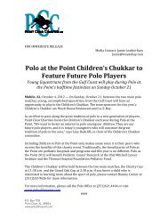 Polo at the Point Children's Chukkar to Feature Future Polo Players