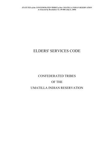 Elders Services Code - Confederated Tribes of the Umatilla Indian ...