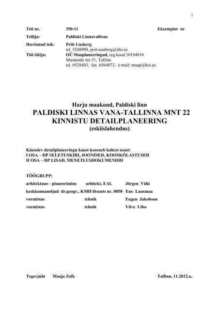 Eskiisi seletuskiri - Paldiski Linnavalitsus