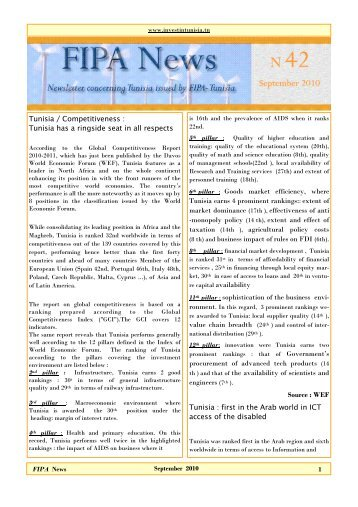 News letter N42 - Invest in Tunisia, The Foreign Investment ...