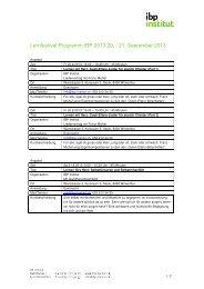 Lernfestival Programm IBP 2013 20. / 21. September 2013 - IBP Institut
