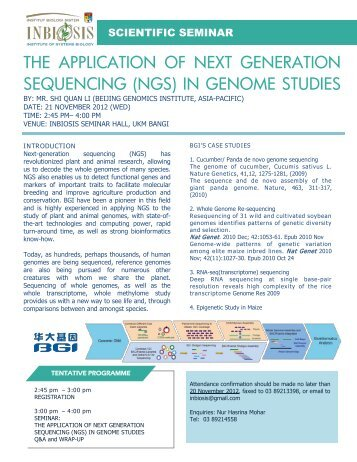 the application of next generation sequencing (ngs) in genome studies