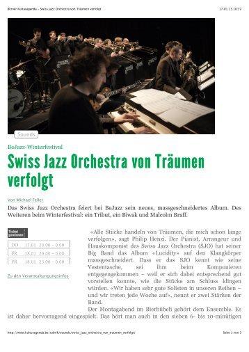 """""""BernerKulturagenda"""" vom 17.01.2013 - Swiss Jazz Orchestra"""
