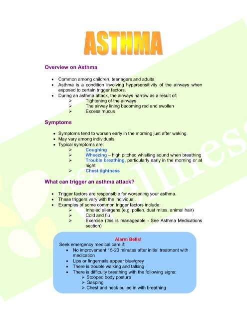 Overview on Asthma Symptoms What can trigger an     - AEON CO  (M)