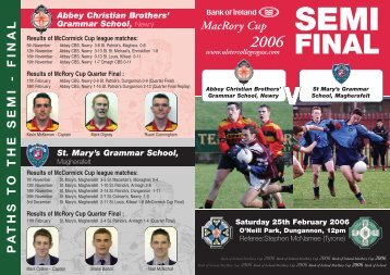 Semi Final Brochure - The Abbey Christian Brothers' Grammar School