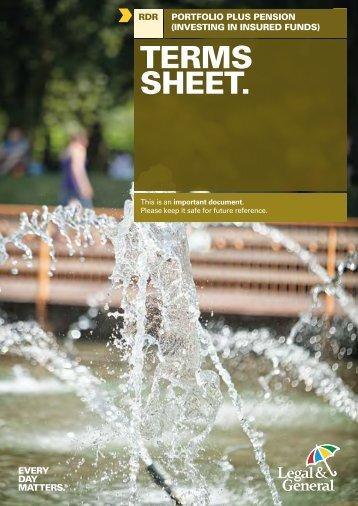 Portfolio Plus Pension Terms Sheet Insured Funds - Legal & General