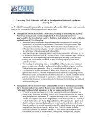 framework for immigration reform - American Civil Liberties Union